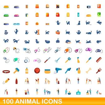Conjunto de 100 ícones de animais. ilustração dos desenhos animados de 100 ícones de animais isolados