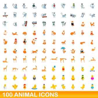 Conjunto de 100 ícones de animais. ilustração dos desenhos animados do conjunto de vetores de 100 ícones de animais isolado no fundo branco