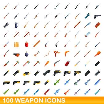 Conjunto de 100 ícones de armas. ilustração dos desenhos animados de 100 ícones de armas isolados