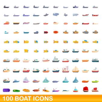 Conjunto de 100 ícones de barco. ilustração dos desenhos animados de 100 ícones de barco isolados