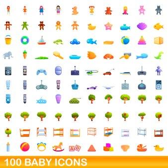 Conjunto de 100 ícones de bebê, estilo cartoon