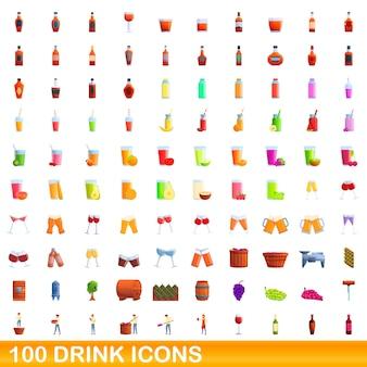 Conjunto de 100 ícones de bebidas. ilustração dos desenhos animados do conjunto de vetores de 100 ícones de bebidas isolado no fundo branco