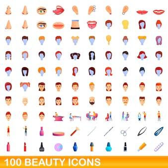 Conjunto de 100 ícones de beleza. ilustração dos desenhos animados de um conjunto de vetores de 100 ícones de beleza isolado no fundo branco