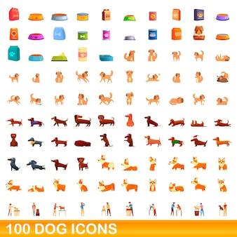 Conjunto de 100 ícones de cachorro. ilustração dos desenhos animados de 100 ícones de cães isolados