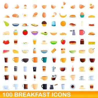Conjunto de 100 ícones de café da manhã. ilustração dos desenhos animados de 100 ícones de café da manhã isolados no fundo branco
