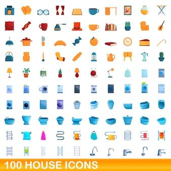 Conjunto de 100 ícones de casa. ilustração dos desenhos animados de 100 ícones de casas isolados no fundo branco