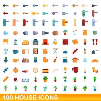 Conjunto de 100 ícones de casa. ilustração dos desenhos animados de 100 ícones de casas isolados