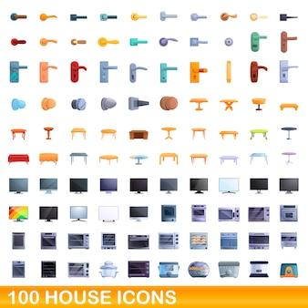 Conjunto de 100 ícones de casa. ilustração dos desenhos animados do conjunto de vetores de 100 ícones de casa isolado no fundo branco
