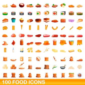 Conjunto de 100 ícones de comida, estilo cartoon