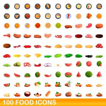 Conjunto de 100 ícones de comida. ilustração dos desenhos animados de 100 ícones de comida isolados no fundo branco