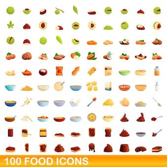 Conjunto de 100 ícones de comida. ilustração dos desenhos animados de 100 ícones de comida isolados