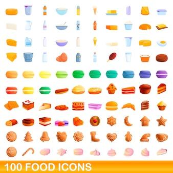 Conjunto de 100 ícones de comida. ilustração dos desenhos animados de um conjunto de vetores de 100 ícones de comida isolado no fundo branco