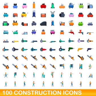 Conjunto de 100 ícones de construção. ilustração dos desenhos animados de 100 ícones de construção isolados