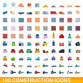 Conjunto de 100 ícones de construção. ilustração dos desenhos animados de um conjunto de vetores de 100 ícones de construção isolado no fundo branco