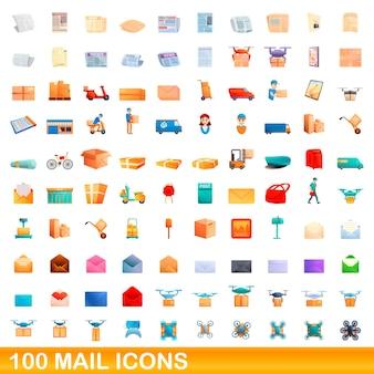 Conjunto de 100 ícones de correio. ilustração dos desenhos animados de 100 ícones de correio isolados