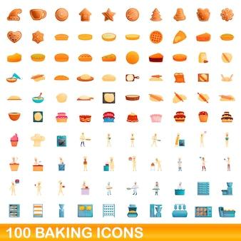 Conjunto de 100 ícones de cozimento. ilustração dos desenhos animados do conjunto de vetores de 100 ícones de cozimento isolado no fundo branco