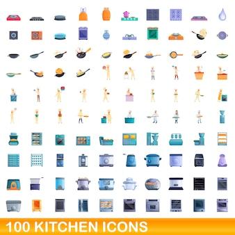 Conjunto de 100 ícones de cozinha. ilustração dos desenhos animados de 100 ícones de cozinha isolados
