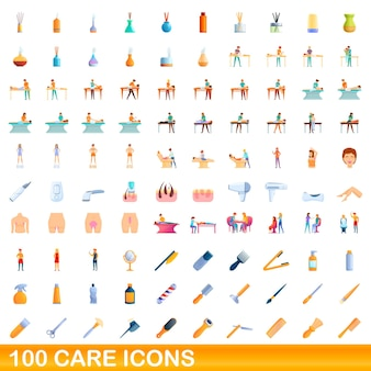 Conjunto de 100 ícones de cuidados. ilustração dos desenhos animados de 100 ícones de cuidados definidos isolados no fundo branco