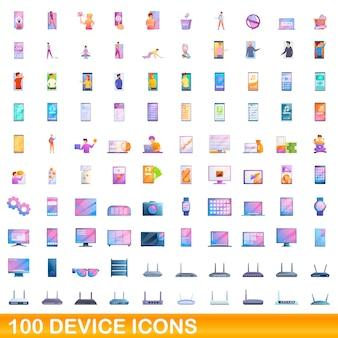 Conjunto de 100 ícones de dispositivos. ilustração dos desenhos animados do conjunto de vetores de 100 ícones de dispositivos isolado no fundo branco