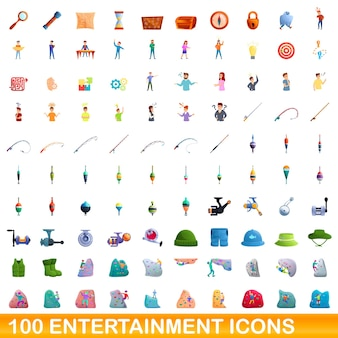 Conjunto de 100 ícones de entretenimento. ilustração dos desenhos animados de um conjunto de vetores de 100 ícones de entretenimento isolado no fundo branco