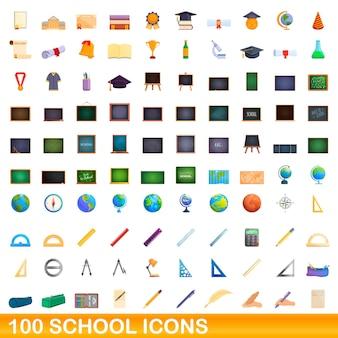Conjunto de 100 ícones de escola. ilustração dos desenhos animados do conjunto de vetores de 100 ícones escolares isolado no fundo branco