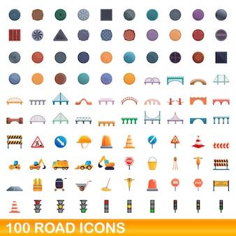 Conjunto de 100 ícones de estradas. ilustração dos desenhos animados do conjunto de vetores de 100 ícones de estradas isolado no fundo branco