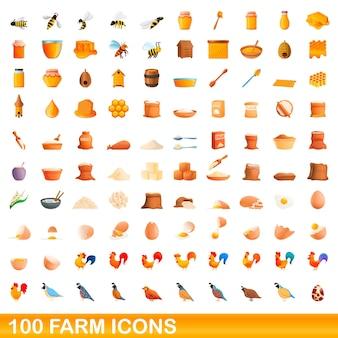 Conjunto de 100 ícones de fazenda. ilustração dos desenhos animados de um conjunto de vetores de 100 ícones de fazenda isolado no fundo branco