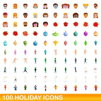 Conjunto de 100 ícones de férias. ilustração dos desenhos animados de 100 ícones de férias isolados no fundo branco