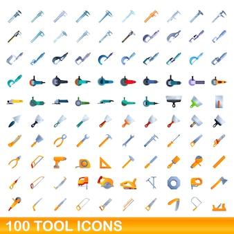 Conjunto de 100 ícones de ferramentas. ilustração dos desenhos animados do conjunto de vetores de 100 ícones de ferramentas isolado no fundo branco