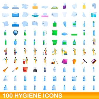 Conjunto de 100 ícones de higiene. ilustração dos desenhos animados de um conjunto de vetores de 100 ícones de higiene isolado no fundo branco