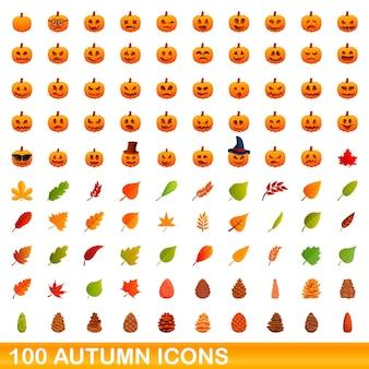 Conjunto de 100 ícones de outono. ilustração dos desenhos animados do conjunto de vetores de 100 ícones do outono isolado no fundo branco