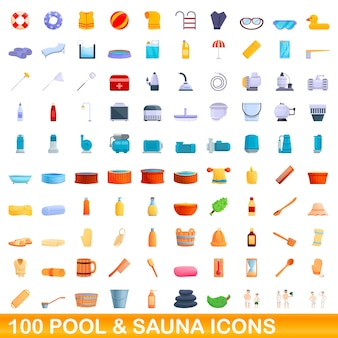 Conjunto de 100 ícones de piscina e sauna. ilustração dos desenhos animados de um conjunto de vetores de 100 ícones de piscina e sauna isolado no fundo branco