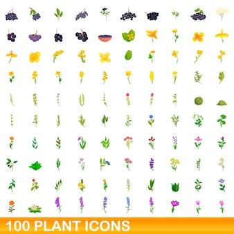 Conjunto de 100 ícones de plantas. ilustração dos desenhos animados de 100 ícones de plantas isolados