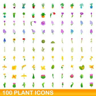 Conjunto de 100 ícones de plantas. ilustração dos desenhos animados do conjunto de vetores de 100 ícones de plantas isolado no fundo branco