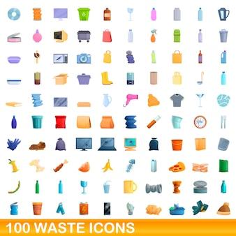 Conjunto de 100 ícones de resíduos. ilustração dos desenhos animados de 100 ícones de resíduos isolados