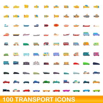 Conjunto de 100 ícones de transporte. ilustração dos desenhos animados de 100 ícones de transporte isolados