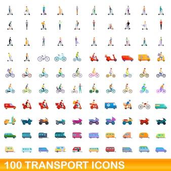 Conjunto de 100 ícones de transporte. ilustração dos desenhos animados de um conjunto de vetores de 100 ícones de transporte isolado no fundo branco