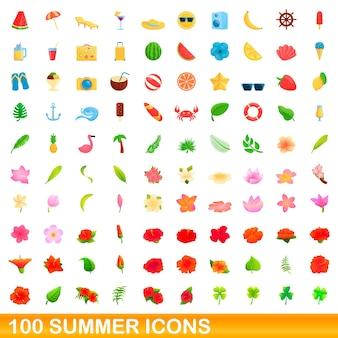 Conjunto de 100 ícones de verão. ilustração dos desenhos animados de 100 ícones de verão isolados