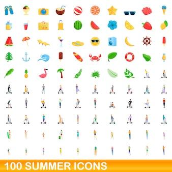 Conjunto de 100 ícones de verão. ilustração dos desenhos animados de um conjunto de vetores de 100 ícones de verão isolado no fundo branco