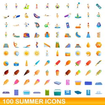 Conjunto de 100 ícones de verão. ilustração dos desenhos animados de um conjunto de vetores de 100 ícones de verão isolado no fundo branco Vetor Premium