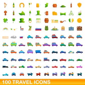 Conjunto de 100 ícones de viagens. ilustração dos desenhos animados de 100 ícones de viagens isolados no fundo branco