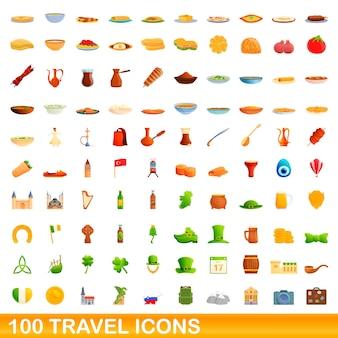 Conjunto de 100 ícones de viagens. ilustração dos desenhos animados de 100 ícones de viagens isolados