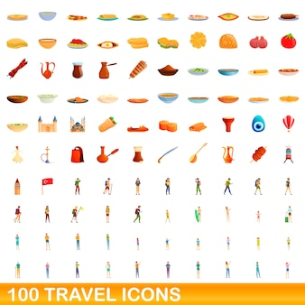 Conjunto de 100 ícones de viagens. ilustração dos desenhos animados do conjunto de vetores de 100 ícones de viagens isolado no fundo branco