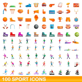 Conjunto de 100 ícones do esporte, estilo cartoon