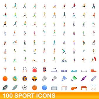 Conjunto de 100 ícones do esporte. ilustração dos desenhos animados do conjunto de vetores de 100 ícones do esporte isolado no fundo branco