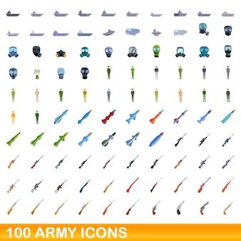 Conjunto de 100 ícones do exército. ilustração dos desenhos animados de 100 ícones do exército isolados