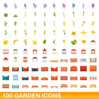 Conjunto de 100 ícones do jardim. ilustração dos desenhos animados do conjunto de vetores de 100 ícones de jardim isolado no fundo branco