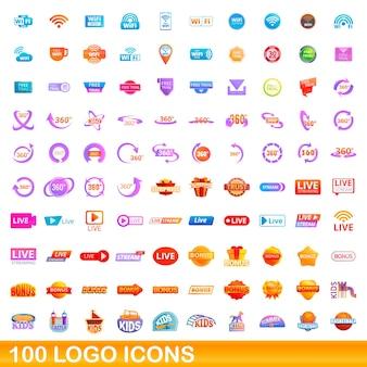 Conjunto de 100 ícones do logotipo. ilustração dos desenhos animados de 100 ícones do logotipo isolados