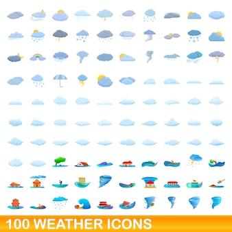 Conjunto de 100 ícones do tempo. ilustração dos desenhos animados de 100 ícones de clima isolados