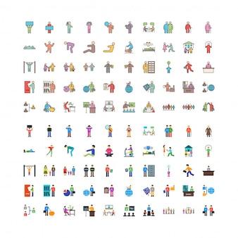 Conjunto de 100 ícones humanos linefilled e flat